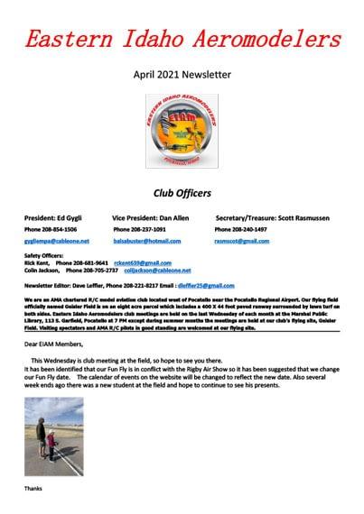 East Idaho Aeromodelers Newsletter April,4 2021