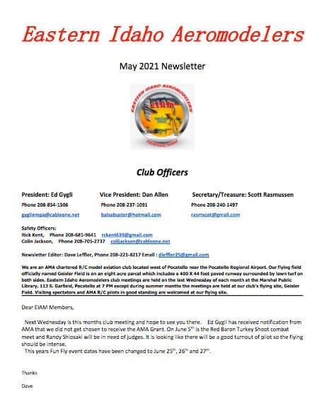 East Idaho Aeromodelers Newsletter May 5 2021