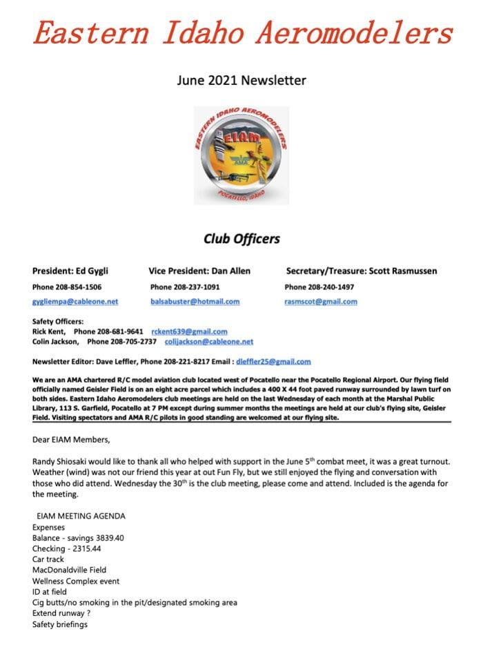 June 2021 Newsletter for Eastern Idaho Aeromodelers Club